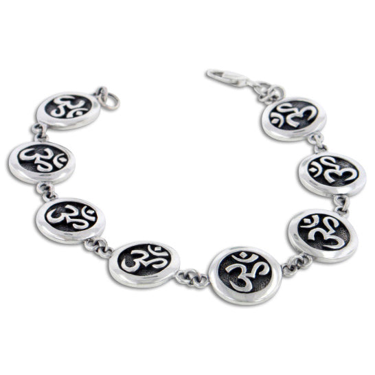 "Antiqued Sterling Silver OM Absolute Aum Symbol Yoga Bracelet 7"" - Silver Insanity"