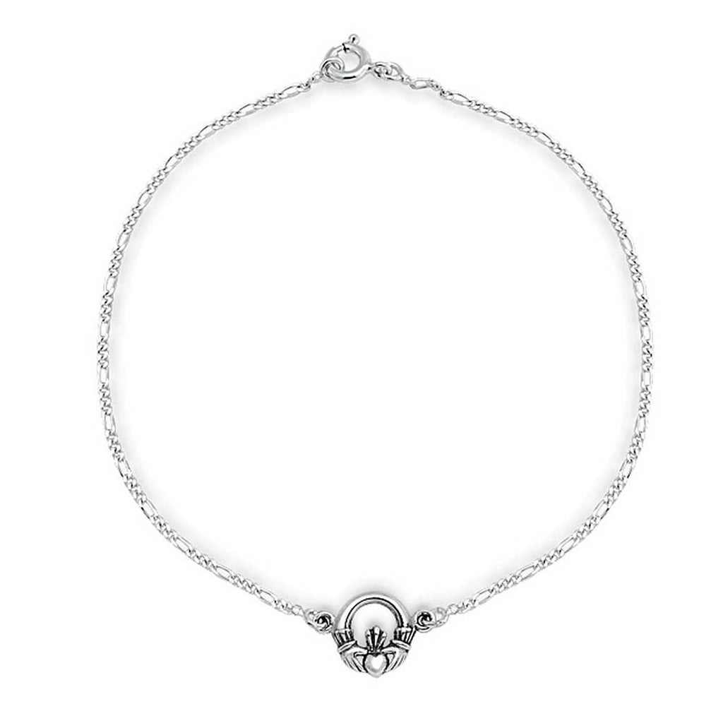 "Sterling Silver Irish Celtic Claddagh Charm 9.5"" Figaro Chain Anklet"