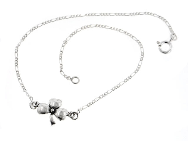 "Sterling Silver Lucky Irish Charm Three Leaf Shamrock Clover 9"" Figaro Anklet"