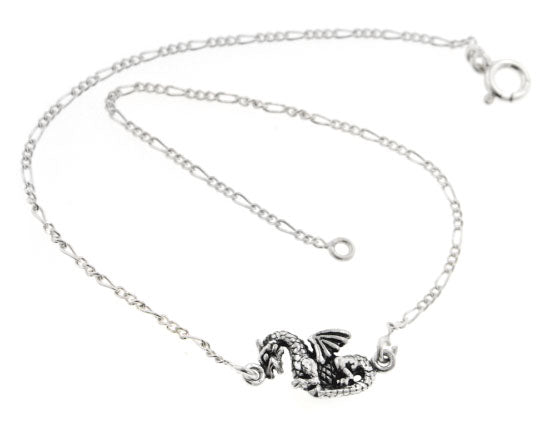 "Sterling Silver Medieval Fantasy Dragon Charm 9.5"" Figaro Anklet - Silver Insanity"