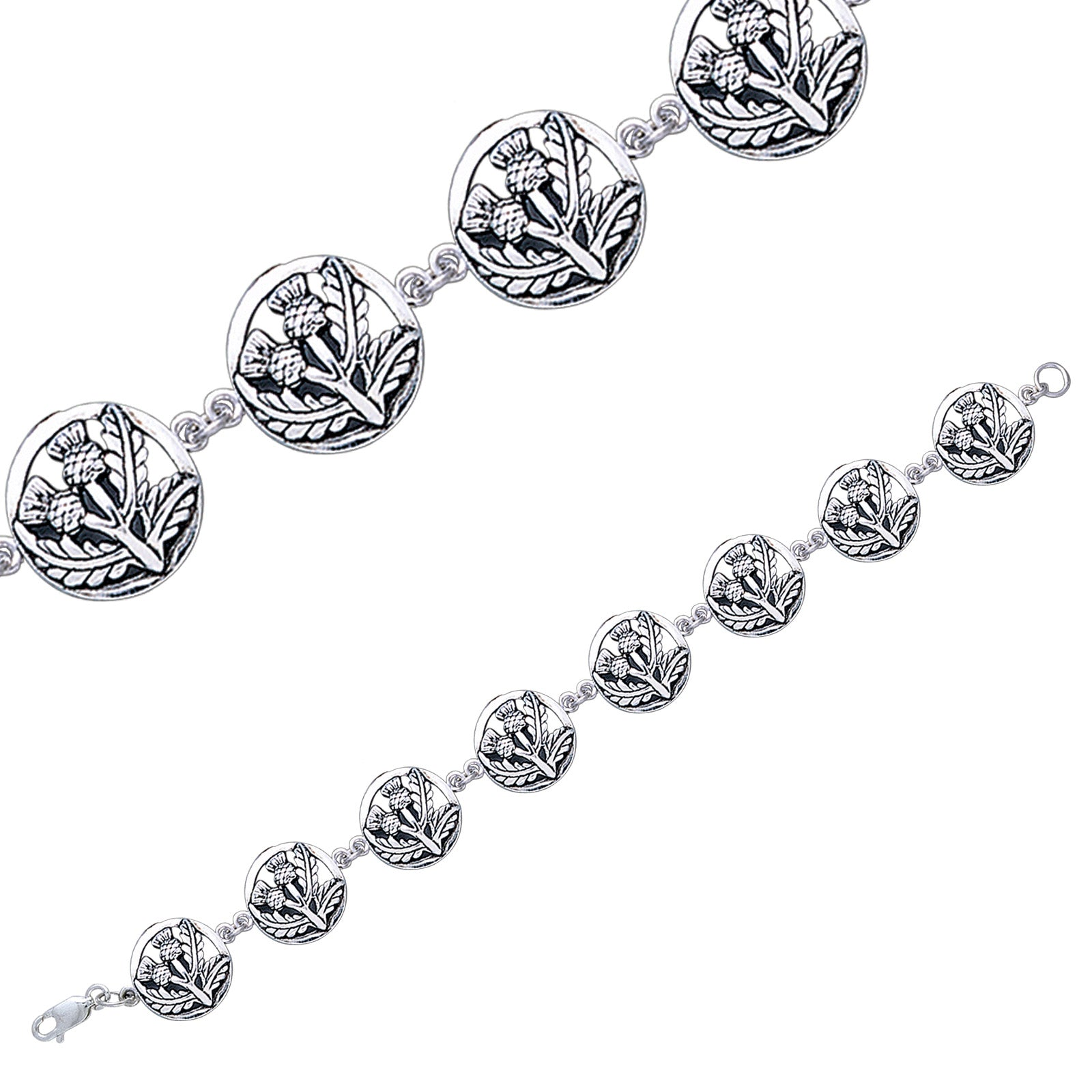 "Sterling Silver 7.5"" Scottish Flower Thistle Link Bracelet"