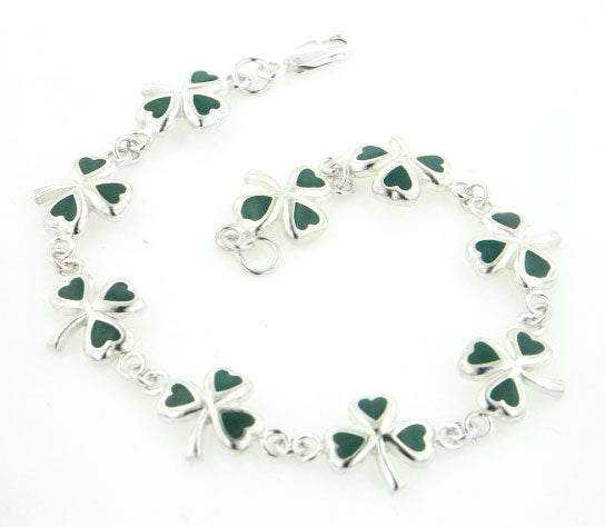 Green Enamel Irish Shamrock 3-Leaf Clover Sterling Silver Bracelet 7