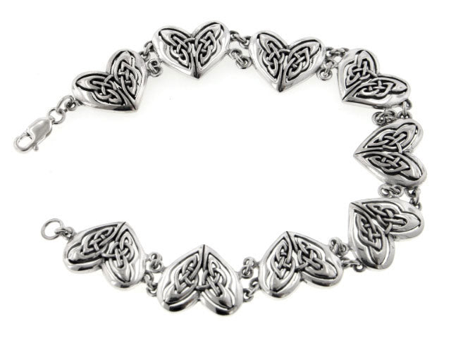 Celtic Trinity Knot Eternal Heart Bracelet Sterling Silver 7.5""