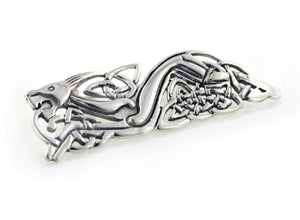 Sterling Silver Celtic Knot Wolf Animorphic Beast Pin Brooch - Silver Insanity