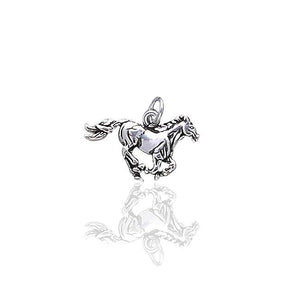 Detailed Sterling Silver Running Horse Charm or Pendant - Silver Insanity