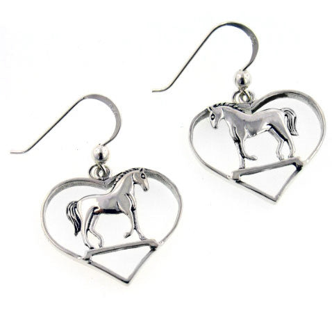 Graceful Standing Horse in Heart Sterling Silver Hook Pony Earrings - Silver Insanity