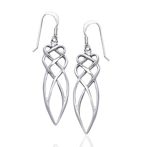 Loving Embrace Abstract Celtic Knot Sterling Silver Long Hook Earrings - Silver Insanity