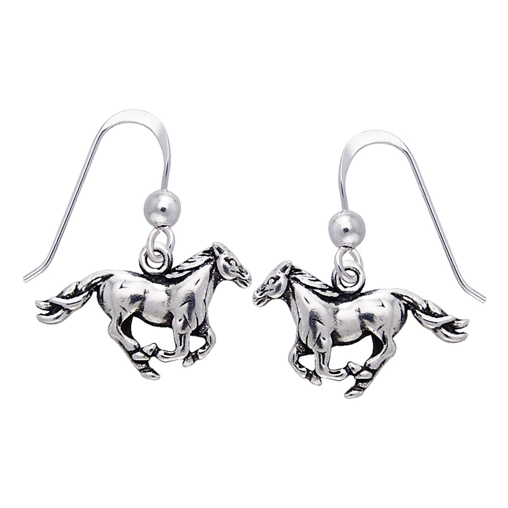 Small Running Horse Sterling Silver Dangling Hook Earrings - Silver Insanity