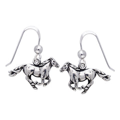 Small Running Horse Sterling Silver Dangling Hook Earrings