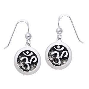 OM or Aum Hindu Yoga Symbol Sterling Silver Round Hook Earrings - Silver Insanity