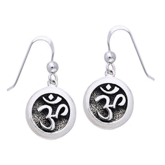 OM or Aum Hindu Yoga Symbol Sterling Silver Round Hook Earrings