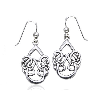 Unusual Sterling Silver Dancing Water Celtic Knot Hook Earrings - Silver Insanity