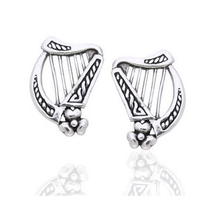Sterling Silver Braided Irish Celtic Harp Post Earrings - Silver Insanity