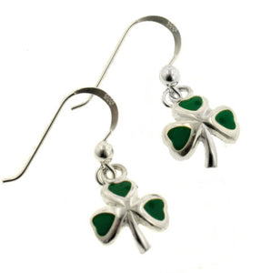 Green Enameled Irish Shamrock or Clover Sterling Silver Hook Earrings - Silver Insanity