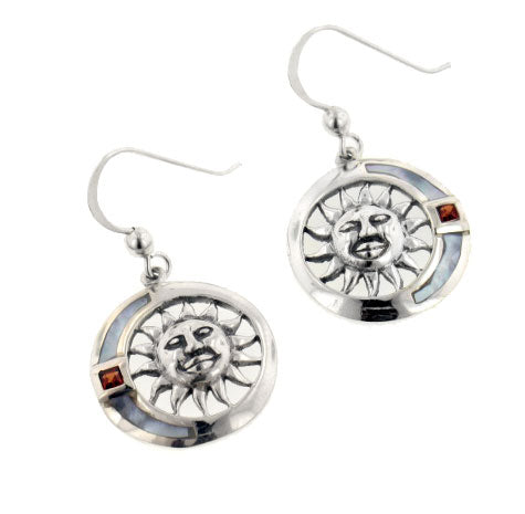 Garnet, Mother of Pearl, and Sterling Silver Celestial Sun Hook Earrings - Silver Insanity