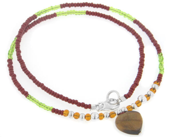 "Sterling Silver Beaded 16"" Choker Necklace with Genuine Tiger Eye Heart Pendant"