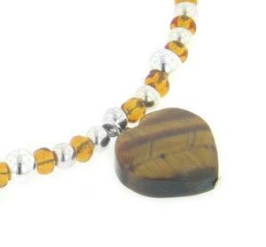 "Sterling Silver Beaded 16"" Choker Necklace with Genuine Tiger Eye Heart Pendant - Silver Insanity"