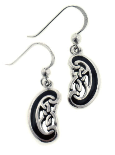 Unique Celtic Knot Twists with Black Enamel Sterling Silver Hook Earrings