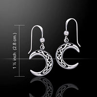 Sterling Silver Celtic Knot Crescent Moon Earrings - Silver Insanity