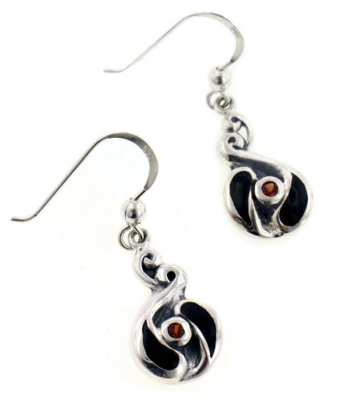 Unusual Celtic Swirled Black Inlay and Genuine Garnet Sterling Silver Earrings - Silver Insanity