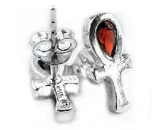 Sterling Silver Garnet Egyptian Ankh Life Stud Earrings - Silver Insanity