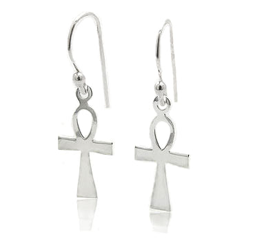 Egyptian Cross Ankh of Life Sterling Silver Hook Earrings - Silver Insanity