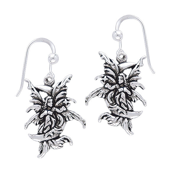 Moon Sprite - Detailed Sterling Silver Amy Brown Fairy Hook Earrings