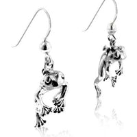 Moveable Detailed Sterling Silver FROG Face and Legs Hook Earrings - Silver Insanity