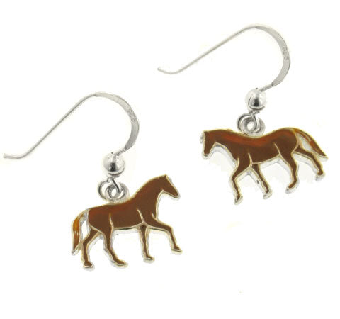 Brown Enameled Running Horse Sterling Silver Earrings - Silver Insanity