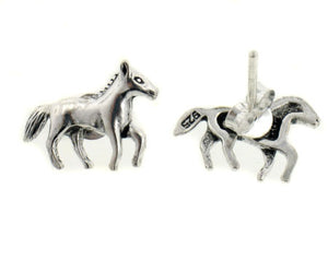 Pretty Little Galloping Horse Sterling Silver Post Stud Earrings - Silver Insanity