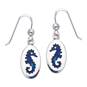 Paua Shell Seahorse Oval Nautical Sterling Silver Hook Earrings - Silver Insanity