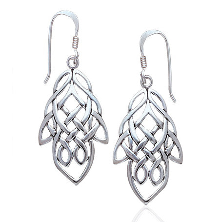 Unique Celtic Knot Maple Leaf Large Sterling Silver Earrings - Silver Insanity