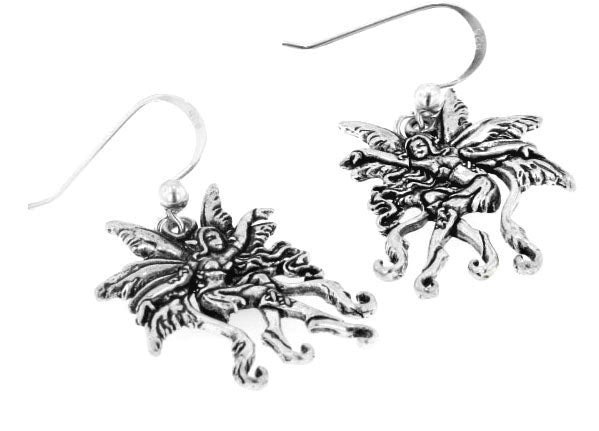 Detailed Sterling Silver Amy Brown Vines Fairy Faerie Hook Earrings