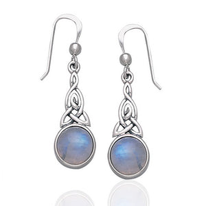 Sterling Silver Rainbow Moonstone Celtic Knot Earrings - Silver Insanity