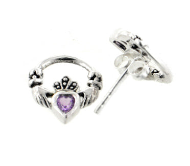 Genuine Amethyst Celtic Claddagh Sterling Silver Post Stud Earrings - Silver Insanity