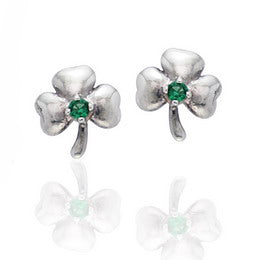Irish Lucky Clovers - Shamrock Sterling Silver Post Stud Earrings
