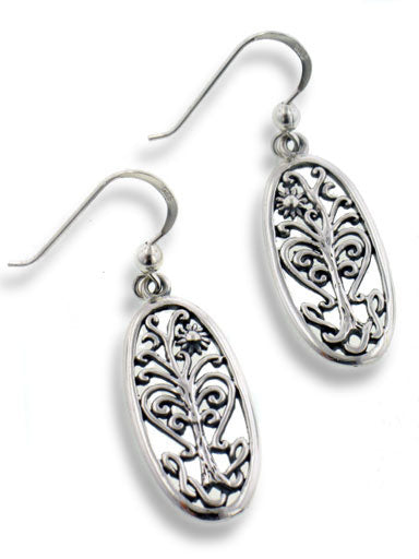 Flowering Tree of Life Religious Symbol Filigree Sterling Silver Oval Earrings