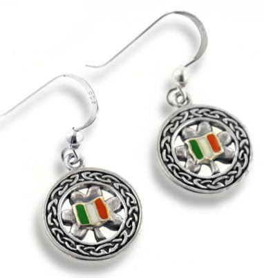 Celtic Knot Clover Irish Flag Sterling Silver Earrings