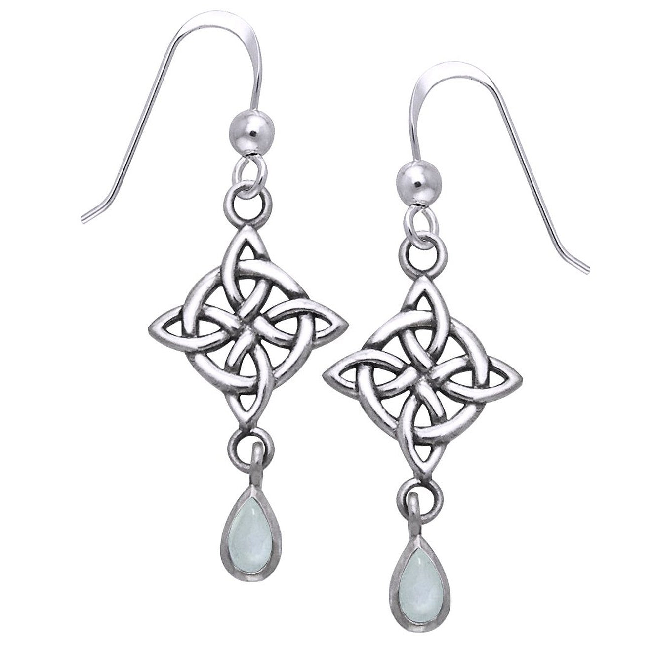 Sterling Silver Celtic Knot Rainbow Moonstone Earrings - Silver Insanity