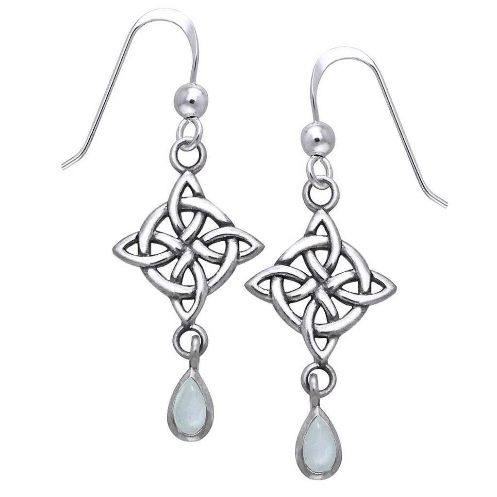 Sterling Silver Celtic Knot Rainbow Moonstone Earrings
