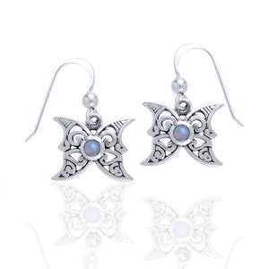 Sterling Silver Moon Celtic Rainbow Moonstone Earrings - Silver Insanity
