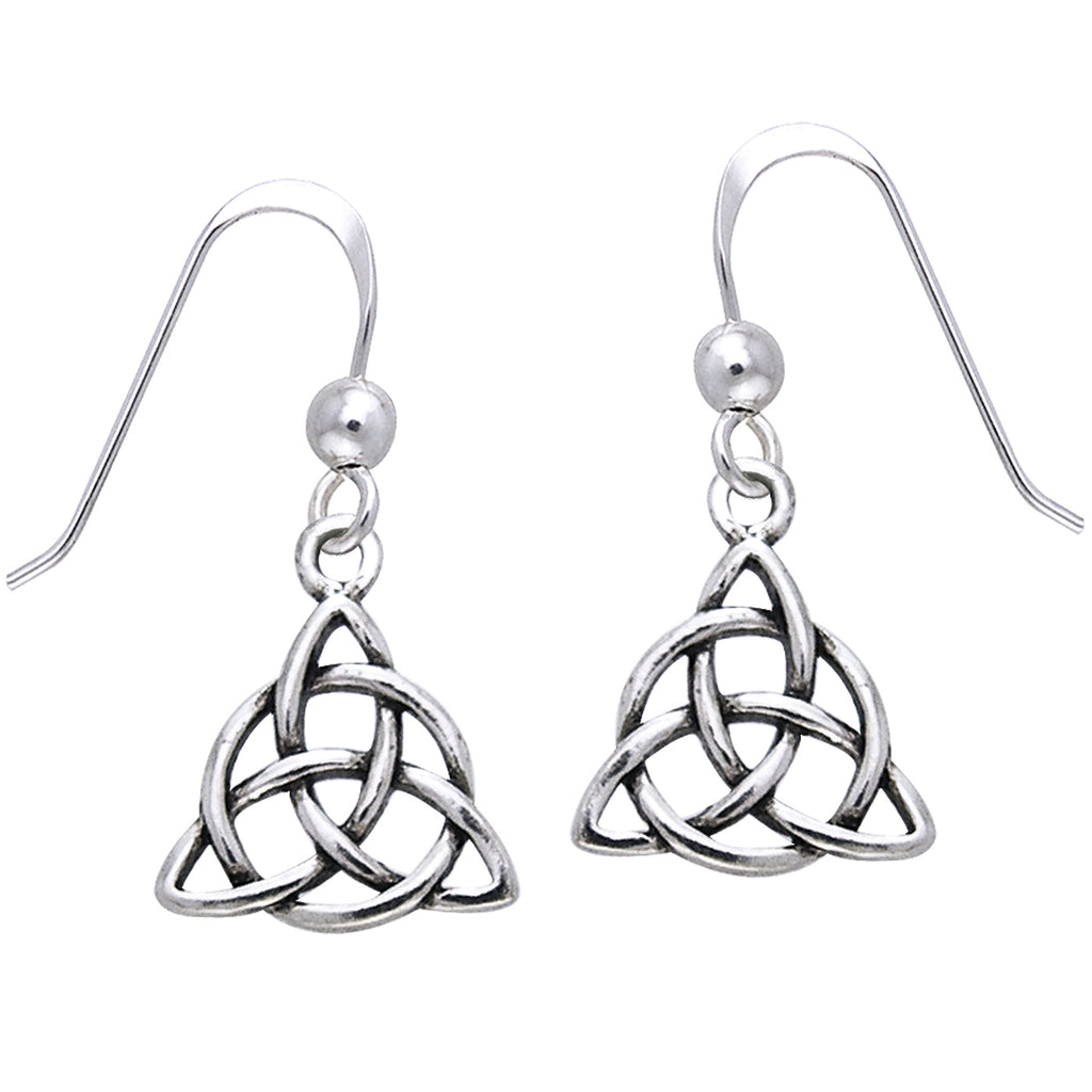 Celtic Triquetra Knot Triangle Sterling Silver Earrings