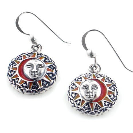 Sun Goddess Celestial Orange Enamel Sterling Silver Hook Earrings - Silver Insanity