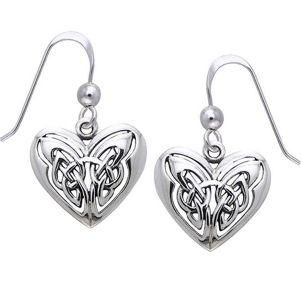 Celtic Knot Eternal Heart Sterling Silver Hook Earrings
