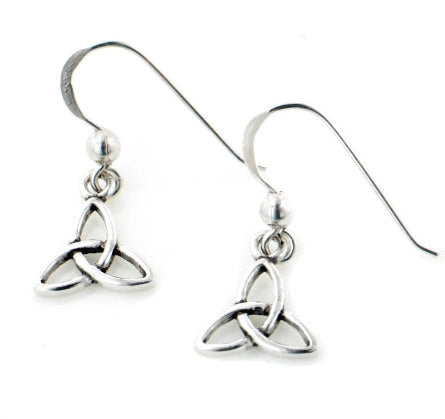 Small Celtic Trinity Knot Symbol Sterling Silver Hook Earrings