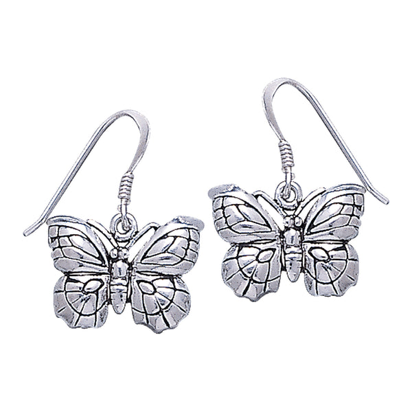 Detailed Curved Butterfly Sterling Silver Hook Earrings - Silver Insanity