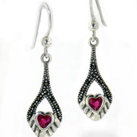 Marcasite and Synthetic Ruby Graduated Heart Drop Sterling Silver Earrings - Silver Insanity