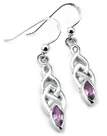 Interlacing Celtic Knot Hook Earrings with Sterling Silver and Marquise Amethyst