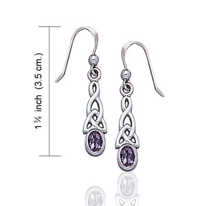 Sterling Silver Celtic Knot and Genuine Amethyst Hook Earrings - Silver Insanity