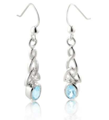 Sterling Silver Celtic Knot and Genuine Blue Topaz Hook Earrings